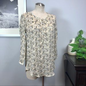 Lucky Brand floral long sleeved top blouse Sz L